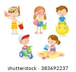 children playing at the beach... | Shutterstock .eps vector #383692237