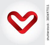 letter v heart symbol logo icon ... | Shutterstock .eps vector #383697511