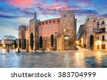 panorama of ancient roman gate... | Shutterstock . vector #383704999