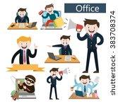 set office  office worker   a... | Shutterstock .eps vector #383708374