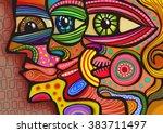 a digitally painted... | Shutterstock . vector #383711497