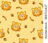 seamless pattern square cat and ...   Shutterstock .eps vector #383711617