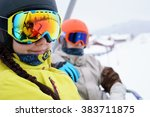 couple sitting on chairlift in... | Shutterstock . vector #383711875