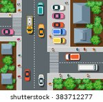 top view the city with streets  ... | Shutterstock .eps vector #383712277