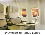 airplane cabin business class... | Shutterstock . vector #383716891