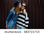 two pretty sisters hipster... | Shutterstock . vector #383721715