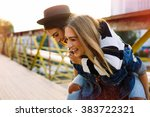 two pretty sisters hipster... | Shutterstock . vector #383722321