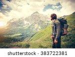 man traveler with backpack... | Shutterstock . vector #383722381