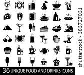 set of 36 food and drink icons... | Shutterstock . vector #383727031