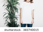 young girl wearing blank t... | Shutterstock . vector #383740015