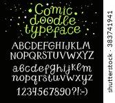 hand drawn playful vector font... | Shutterstock .eps vector #383741941