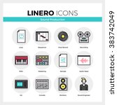 line icons set of sound... | Shutterstock .eps vector #383742049