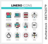 line icons set of web studio...