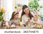 happy easter  a mother and her... | Shutterstock . vector #383744875
