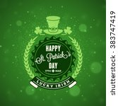 st. patricks day holiday badge... | Shutterstock .eps vector #383747419