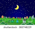 small village in night sky ... | Shutterstock .eps vector #383748229