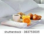 breakfast in bed in hotel room. ... | Shutterstock . vector #383753035