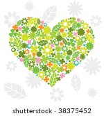green heart made of flowers and ...