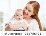 happy family mother hugging her ... | Shutterstock . vector #383756431