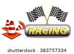 racing with checkered flag and... | Shutterstock .eps vector #383757334