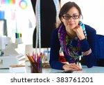 beautiful fashion designer... | Shutterstock . vector #383761201
