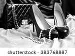 Black shoes, fashion handbag and pearl necklace