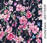 vintage garden watercolor... | Shutterstock . vector #383770339
