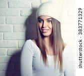 portrait of young attractive... | Shutterstock . vector #383771329