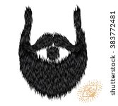 hairy curly hipster strong... | Shutterstock .eps vector #383772481
