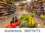 supermarket trolley at an ... | Shutterstock . vector #383776771