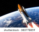 space shuttle in space. 3d... | Shutterstock . vector #383778859