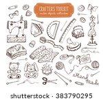 hand made tools doodle set.... | Shutterstock .eps vector #383790295