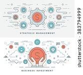 flat line business investment... | Shutterstock .eps vector #383794999