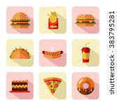 big vector flat style icons set ... | Shutterstock .eps vector #383795281