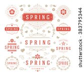 spring typographic design set.... | Shutterstock .eps vector #383795344