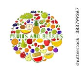 round from fruits and berries.... | Shutterstock . vector #383799367