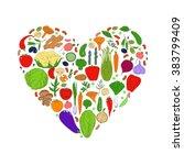 heart from healthy food. green... | Shutterstock . vector #383799409