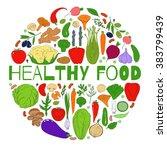 set of healthy vegetarian food. ... | Shutterstock . vector #383799439
