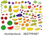 healthy food hand drawn... | Shutterstock . vector #383799487