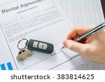 rental agreement for a car with ... | Shutterstock . vector #383814625