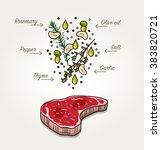 herb and garlic marinade recipe ... | Shutterstock .eps vector #383820721