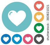 flat heart shape icon set on...