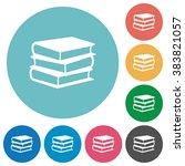 flat books icon set on round...