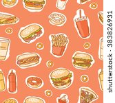seamless fast food pattern on... | Shutterstock .eps vector #383826931