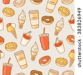 seamless colorful fast food...   Shutterstock .eps vector #383826949