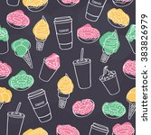 seamless fast food desserts... | Shutterstock .eps vector #383826979