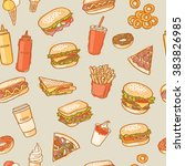 seamless fast food pattern | Shutterstock .eps vector #383826985