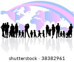 illustration of family and map | Shutterstock .eps vector #38382961