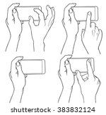 phone touch gestures   pinch... | Shutterstock .eps vector #383832124