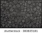 chalkboard vector hand drawn... | Shutterstock .eps vector #383835181